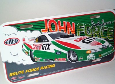 John Force Castrol GTX Vanity Plate