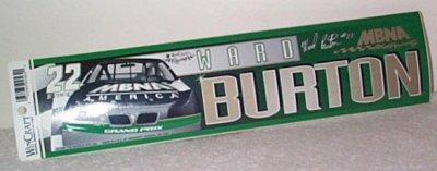 Ward Burton MBNA Pontiac Bumper Sticker